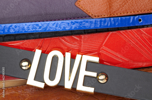 Leather belts background