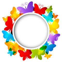 Rainbow butterflies frame for Your design