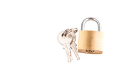 Padlock and keys over white background