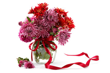 Chrysanthemum flowers in a glass vase.
