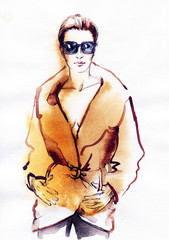 woman in coat.  Hand painted fashion illustration