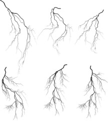 group of six black lightnings on white