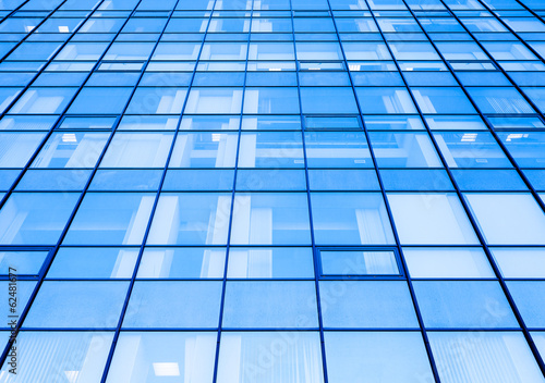 Moder office facade perspective with blue glass
