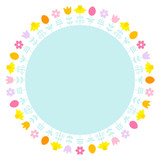 Easter Meadow Flower & Eggs Frame Pastel Color