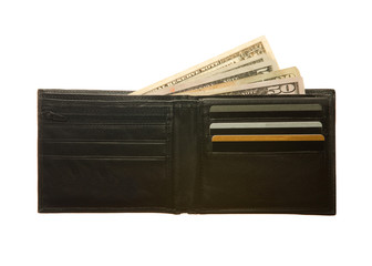 Black leather wallet with Dollar notes