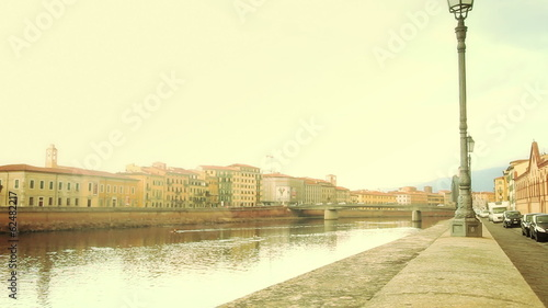 Girl Walking Along Arno River
