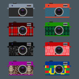 Set of Retro Cameras, hipster style, vector Eps10 illustration.