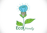 light bulb green eco energy concept, plant growing