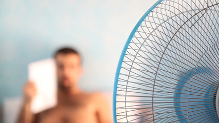 Young Man and Fan, Summer theme