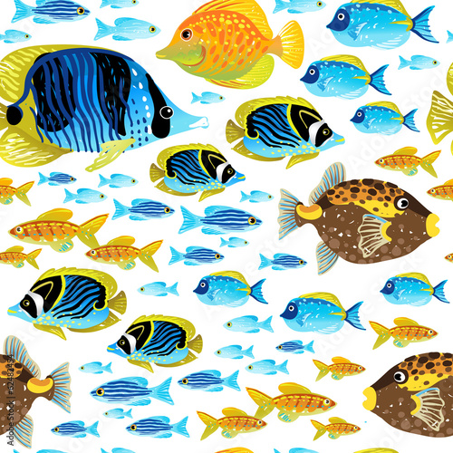 Bright seamless pattern with sea fish.