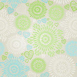 Seamless Pattern with colorful flowers and hearts