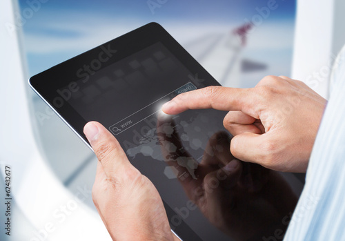 Hands touching tablet with search engine, Social network concept