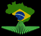 Arrow of people with Brazil map flag illustration