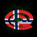e-mail address AT symbol with Norwegian flag on hex illustration