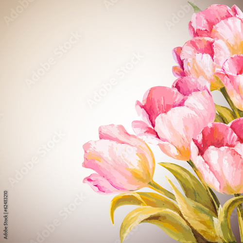 Tulips. Spring flowers invitation template card