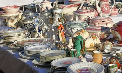 furnishings and ceramic plates for sale vintage shop