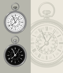 Pocket watch - Clock face vector illustration