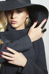 Beautiful Blond Woman in Hat.Spring Collection