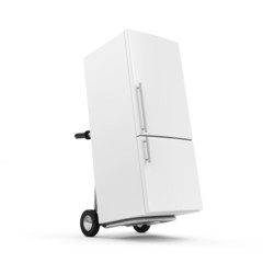Metal Hand Truck with Refrigerator isolated on white background
