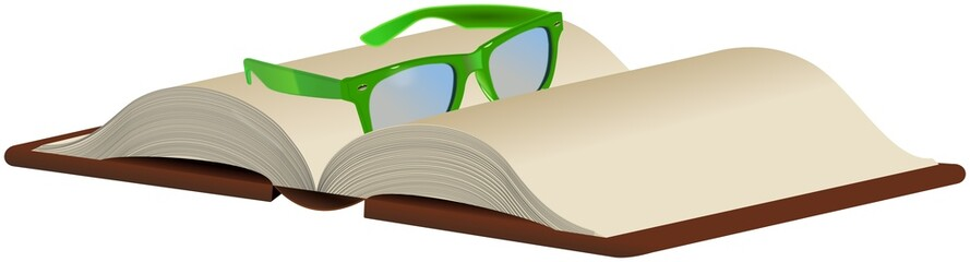Green glasses on opened book isolated on white