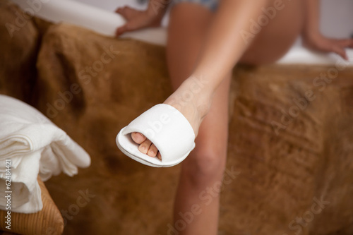 Foot with spa slippers