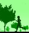 Girl running in park in spring silhouette