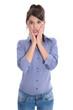 Junge Frau isoliert in Blau ist erschrocken und hat Angst