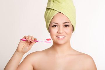 Spa beauty woman with tooth brush heathy teeth, dental care