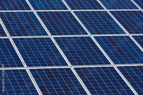 Angled view of solar panels on a sunny day