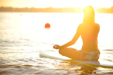 yoga on a SUP