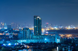 Bangkok cityscape which can see river view at twilight, blue col
