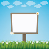 blank sign board daisy meadow blue background