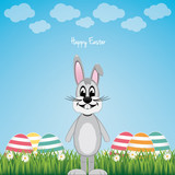 happy gray bunny colorful eggs daisy meadow