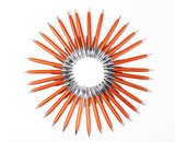 Orange pens background. Solar circle