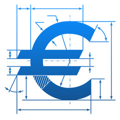 Euro symbol with dimension lines for blueprint drawing