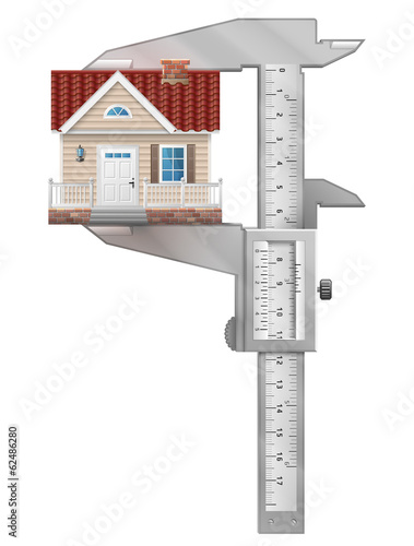 Concept of home symbol and measuring tool (caliper)