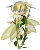 Cute Toon Daisy Fairy, Skipping