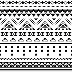 Tibal seamless pattern, white aztec prin black on black