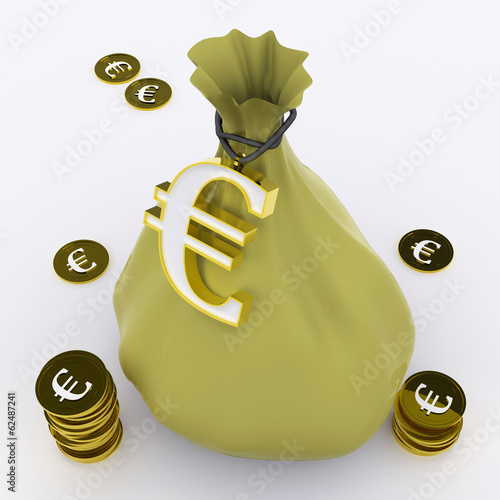 Euro Bag Means European Wealth And Money