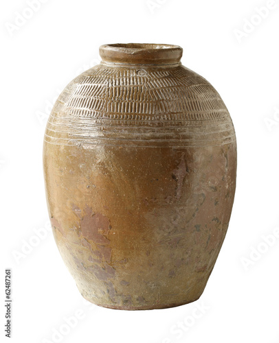 Preserving clay jar isolated on white background