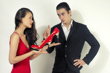 Woman happy for her shoes, woman in love with shopping,couple