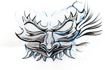 Devil mask, sketch of tattoo