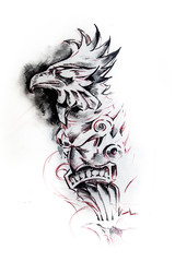 Totem, sketch of tattoo