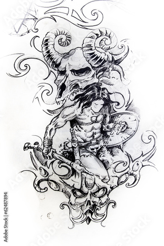 Viking warrior, sketch of tattoo