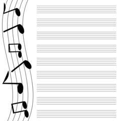 black music on white background.musical design.music books.vecto