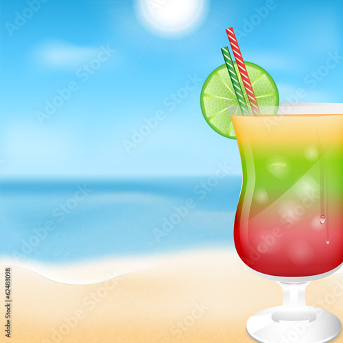 glass with cocktails on the background of sea and sky.summer ba
