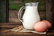 Baking ingredients : milk, eggs and wheat