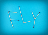 Word FLY made of matchsticks