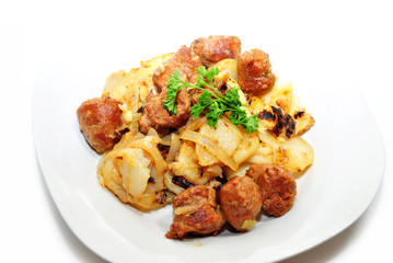 Delicious Sausage and Potatoes with Fresh Parsley
