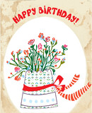 Vintage birhday card with flower pot, bow, paper